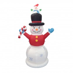 Inflatable LED Snowman with Candy cane 210cm | 424762