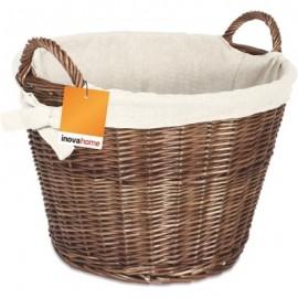 INOVA Natural Wicker Round Basket C/W Jute Liner   61776