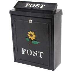 De Vielle Diecast Post Box Black Sunflower | 44657