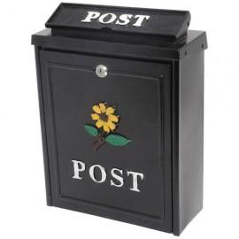De Vielle Diecast Post Box Black Sunflower   44657