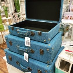 MAISON Wooden Suitcase NAVY LARGE   426796
