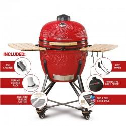 "KAMADO BONO Grande 23"" Charcoal BBQ RED | TQ0023RED"