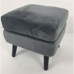 Velvet Plush Square Footstool GREY   426723