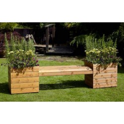 MERCER Solid Wood Bench with Planters | MWT-002