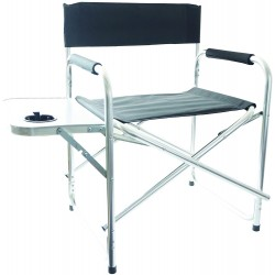 REDWOOD Aluminium Outdoor Directors Chair with Side Table BLACK | 408281