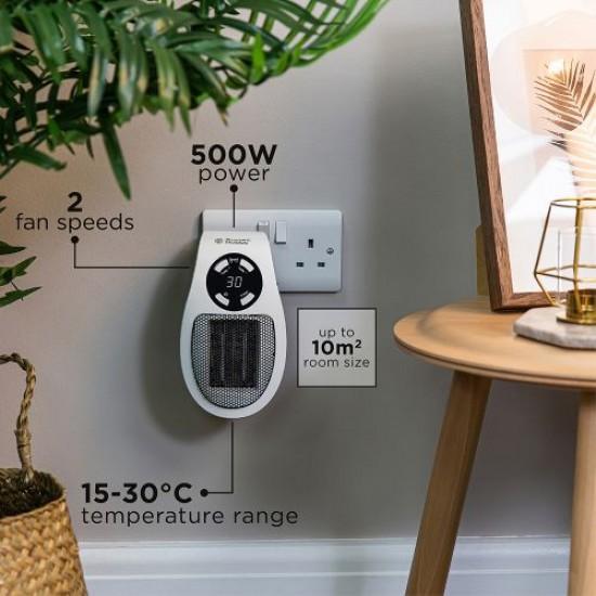 RUSSELL HOBBS Portable 500W Ceramic Plug Heater WHITE | RHPH2001
