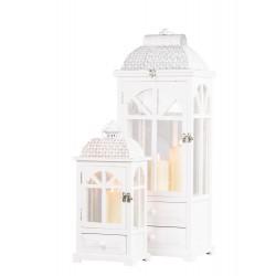 TARA Chester Window Lantern with Drawer Large WHITE | 375083