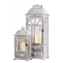 TARA Chester Window Lantern with Drawer Large GREY| 375082