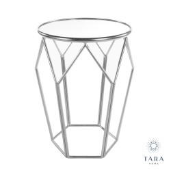 TARA Geometric Mirrored Accent Table SILVER | 401556
