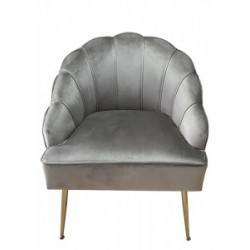 THE GRANGE COLLECTION Shell Chair Light Grey with gold legs | 408060
