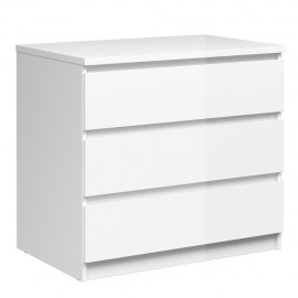 NAIA Chest of 3 Drawers High Gloss WHITE | 431255