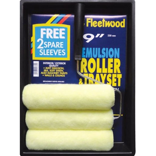 "FLEETWOOD 9"" ROLLER SET C/W 3 SLEEVES RTS9-3S"