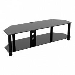 Classic Corner Glass TV Stand with Cable Management   SDC1400CMBB